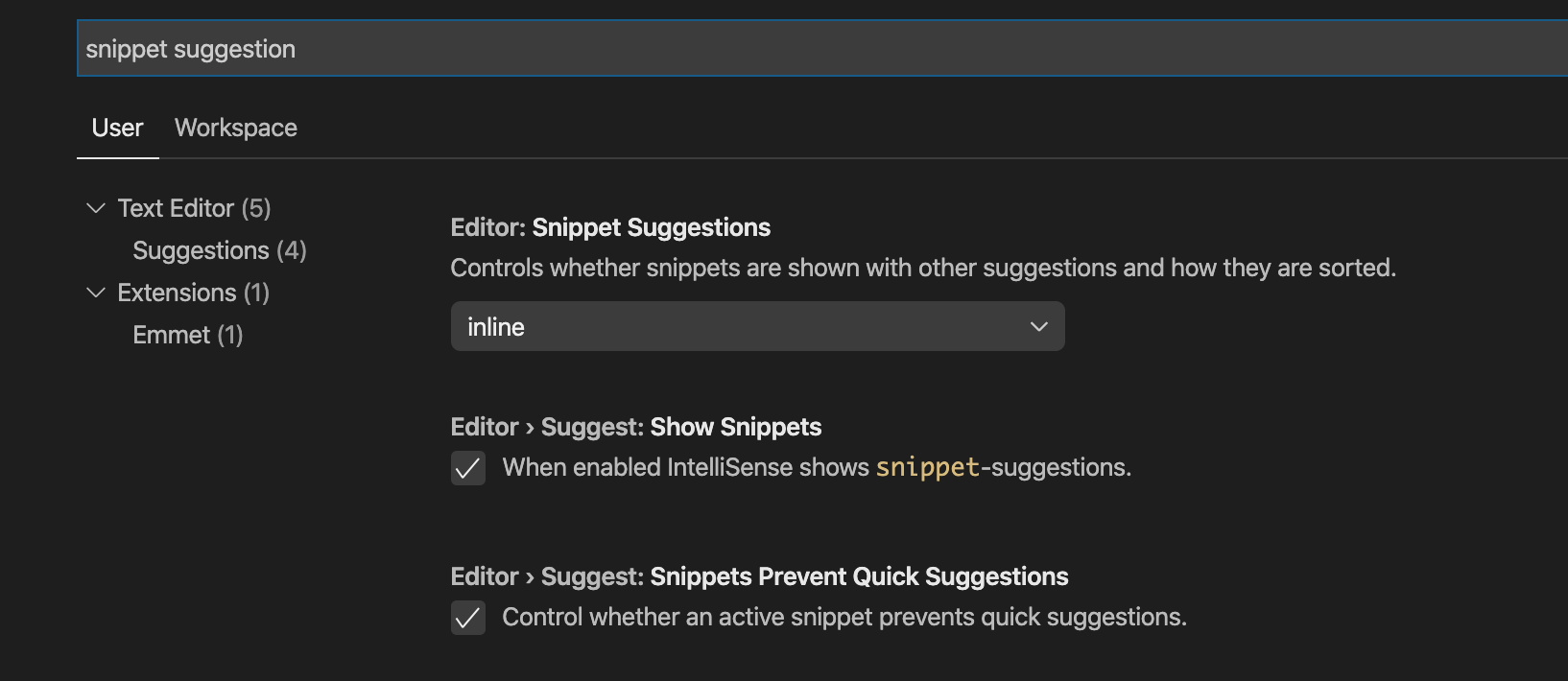 Snippet suggestion option in VS Code