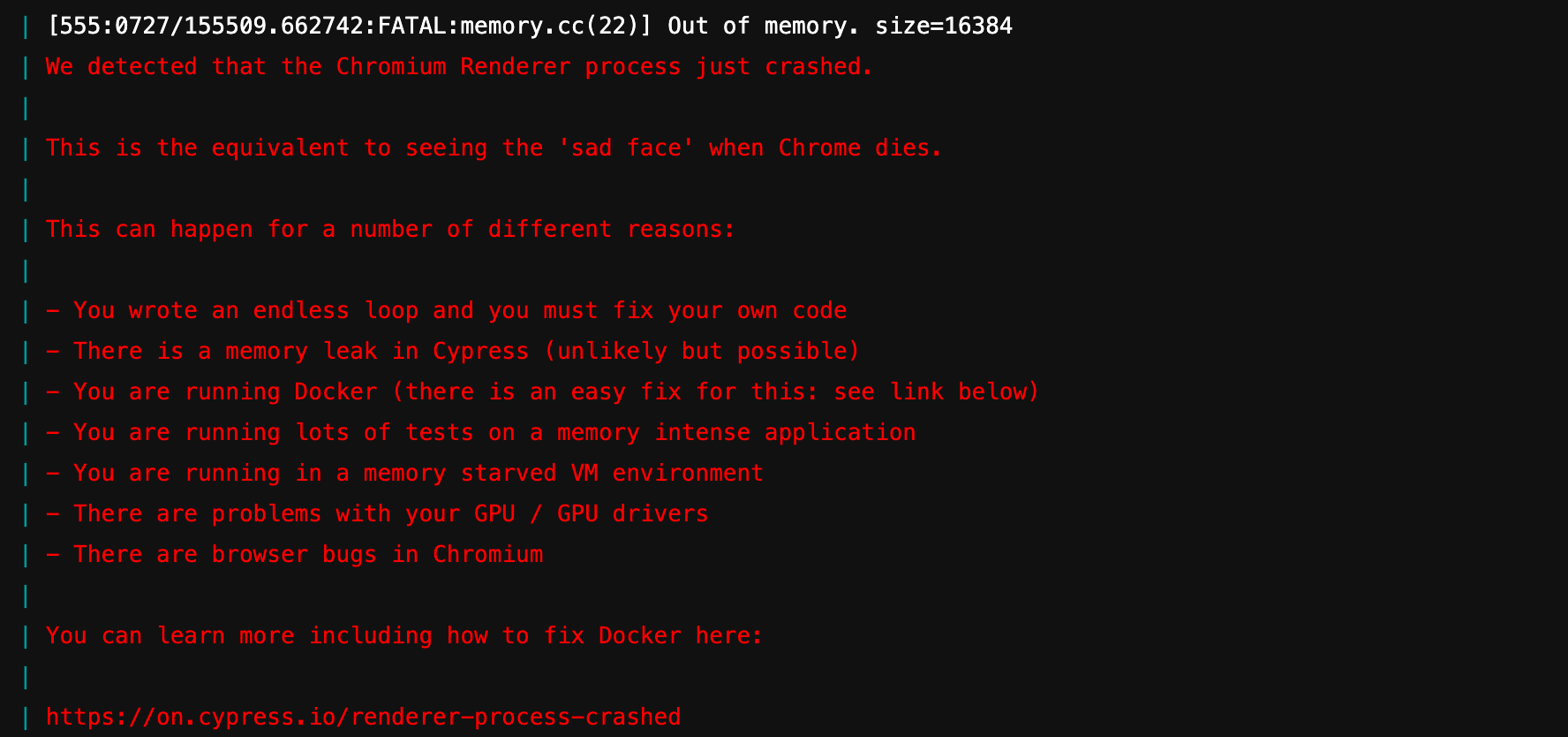 cypress crashing due to out of memory