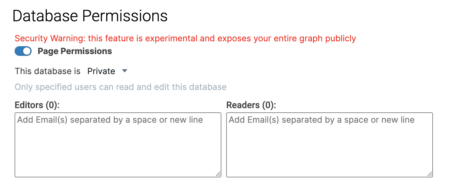 Roam database permission with page permission turned on