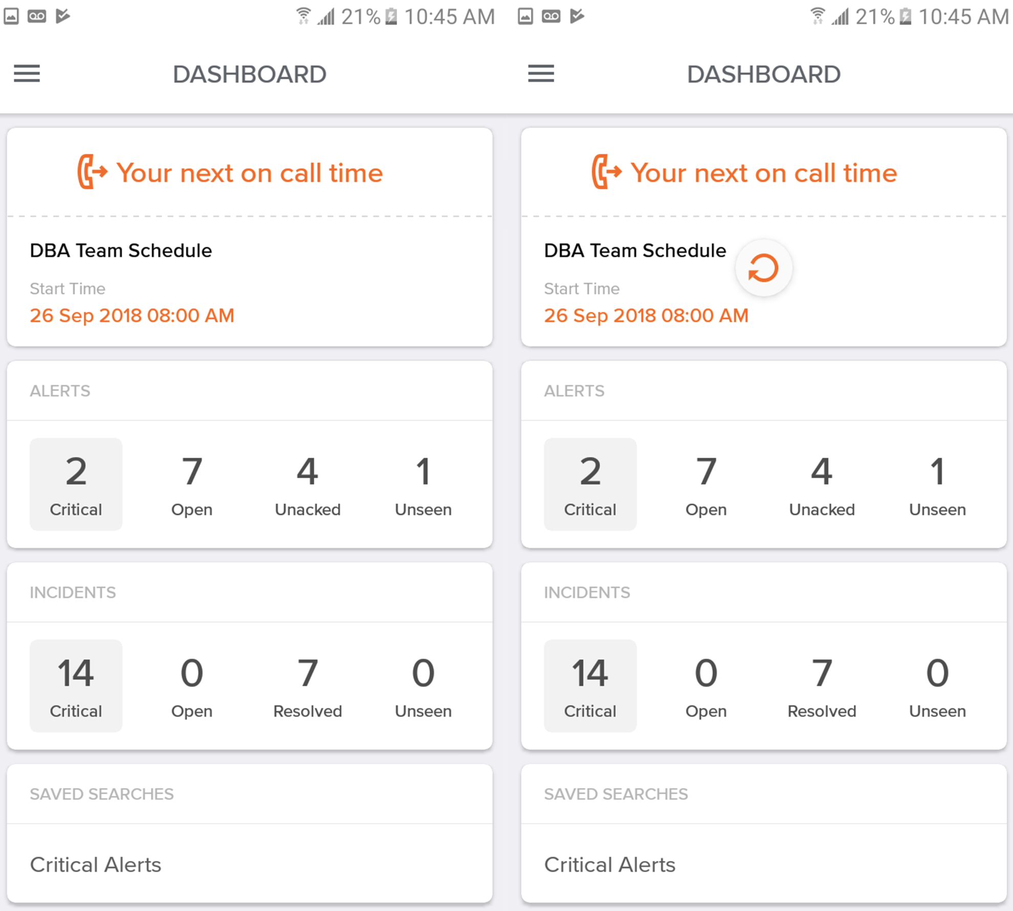 An image of Opsgenie's Android app dashboard.