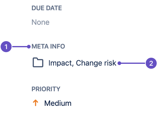 Field tab named 'Meta Info' with Impact and Change Risk fields inside
