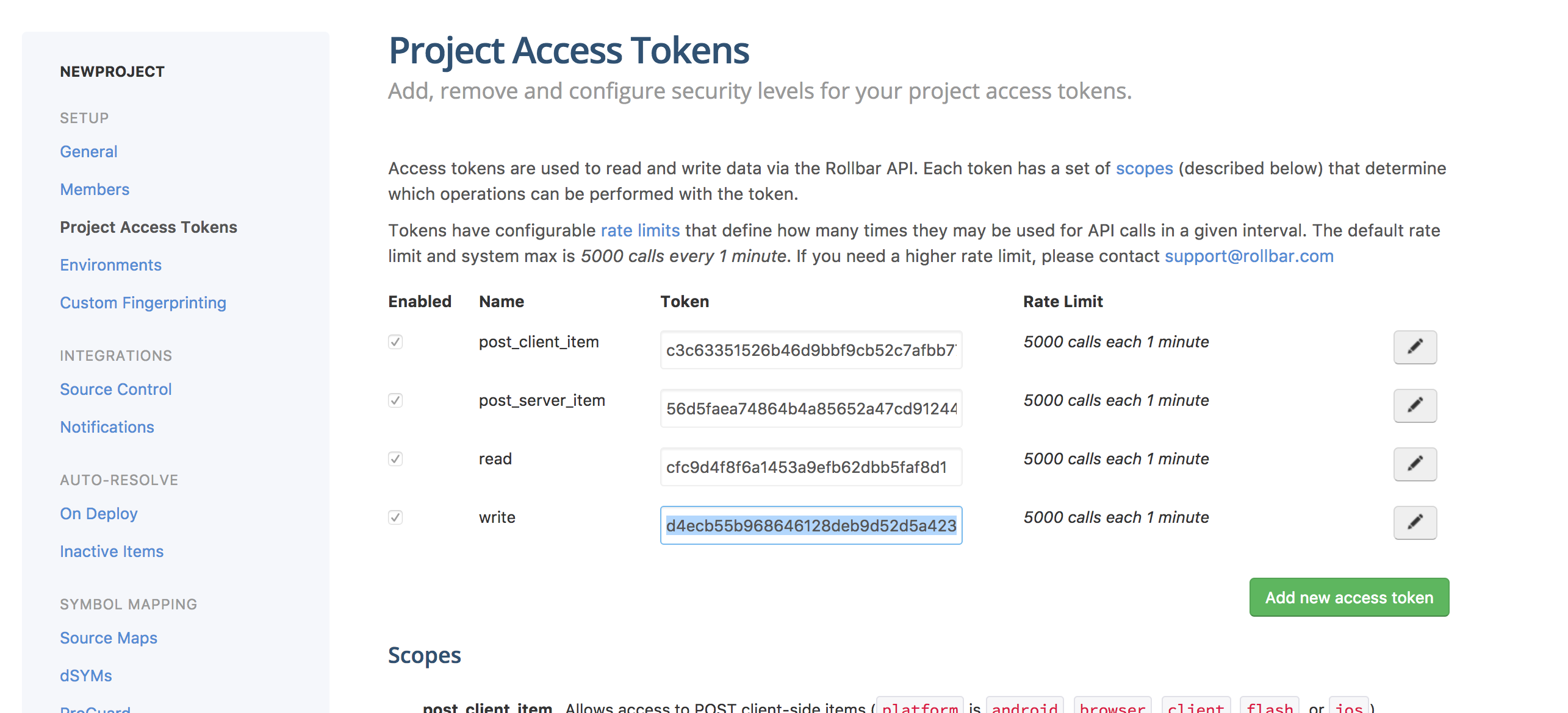 Rollbar Project Access Token