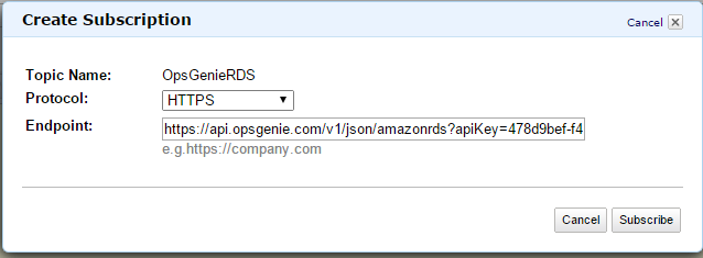 Amazon RDS Create Subscription