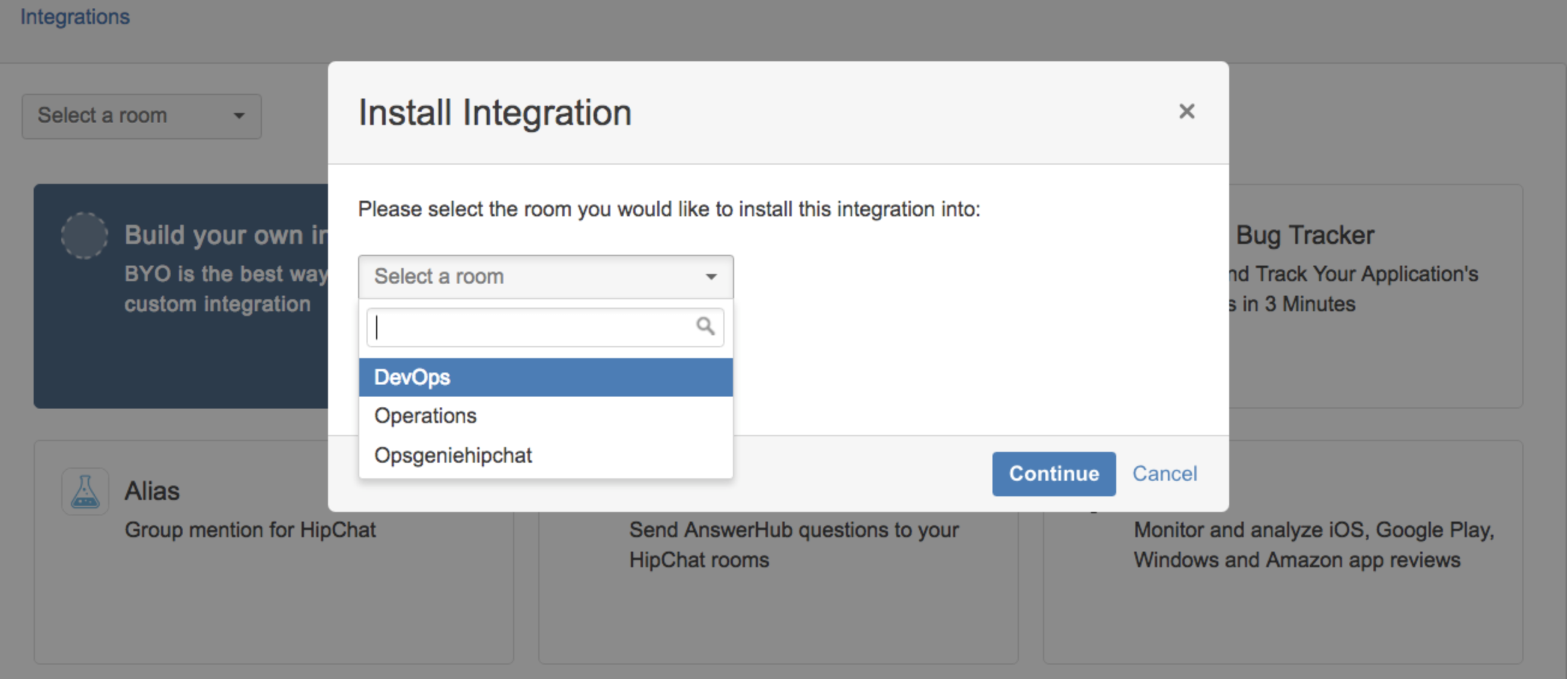 A screenshot of room selection while installing HipChat integration.