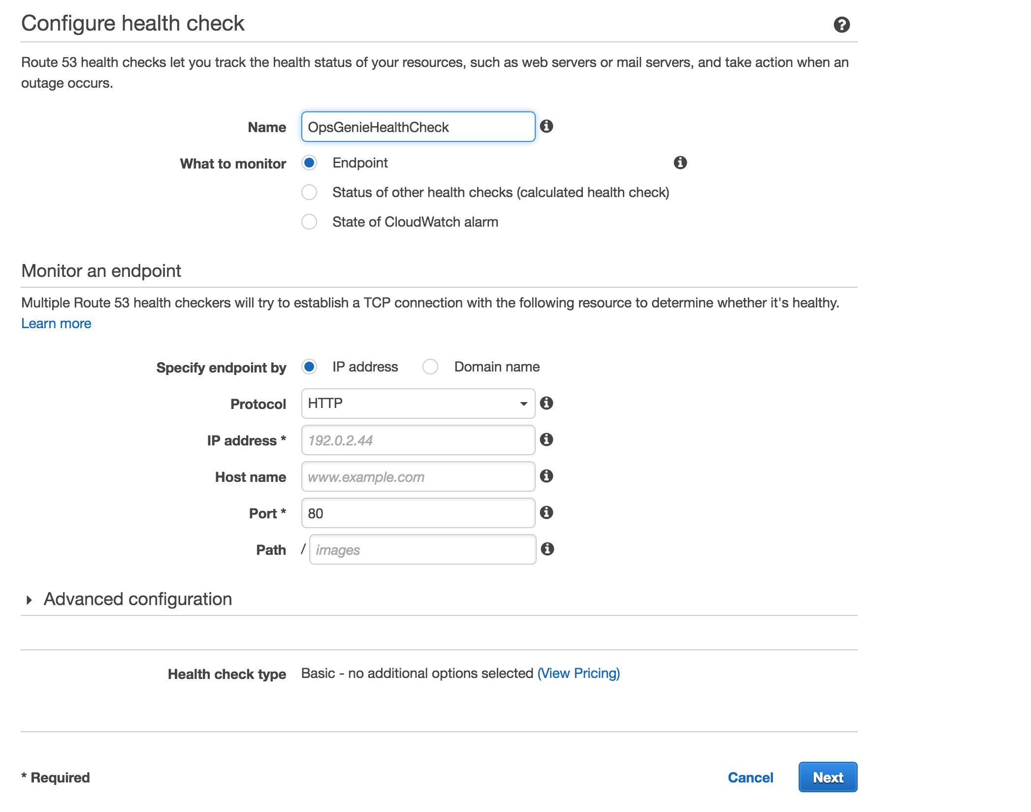 Amazon Route 53 Health Check Configuration