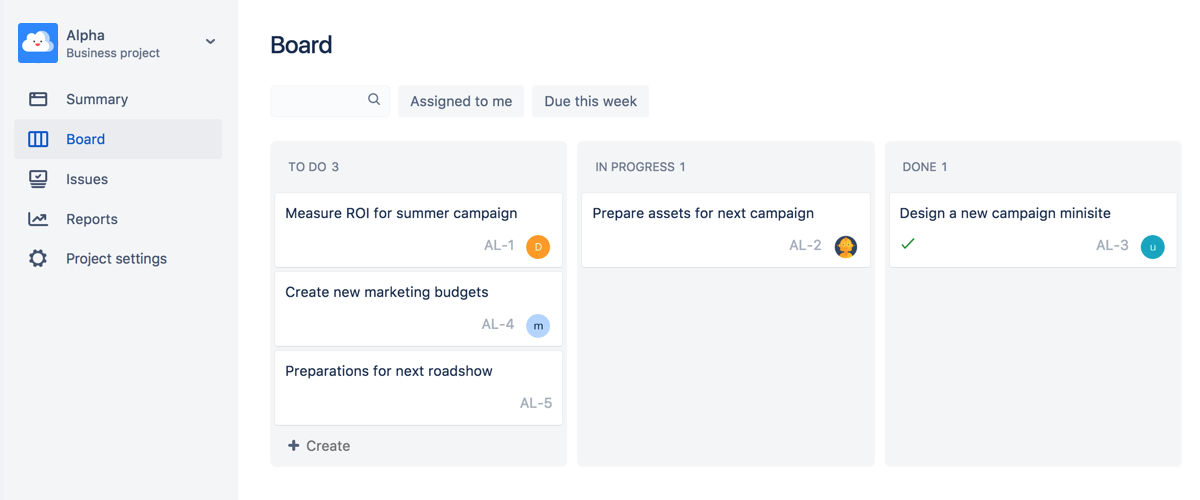 A Jira Core business project board with Jira issues.