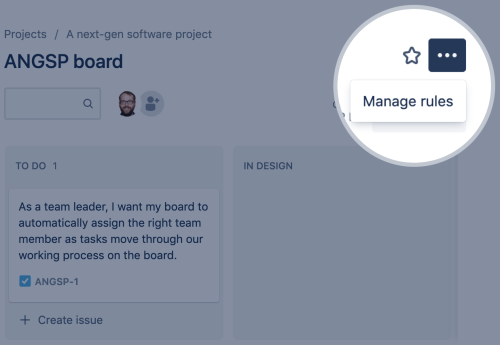 Selecting the Manage rules option from the More menu of a board.