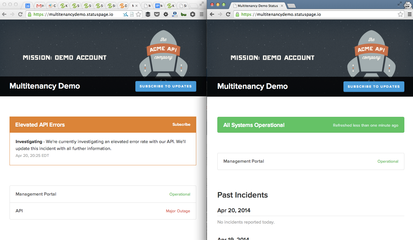 screenshot of multitenancy incident update