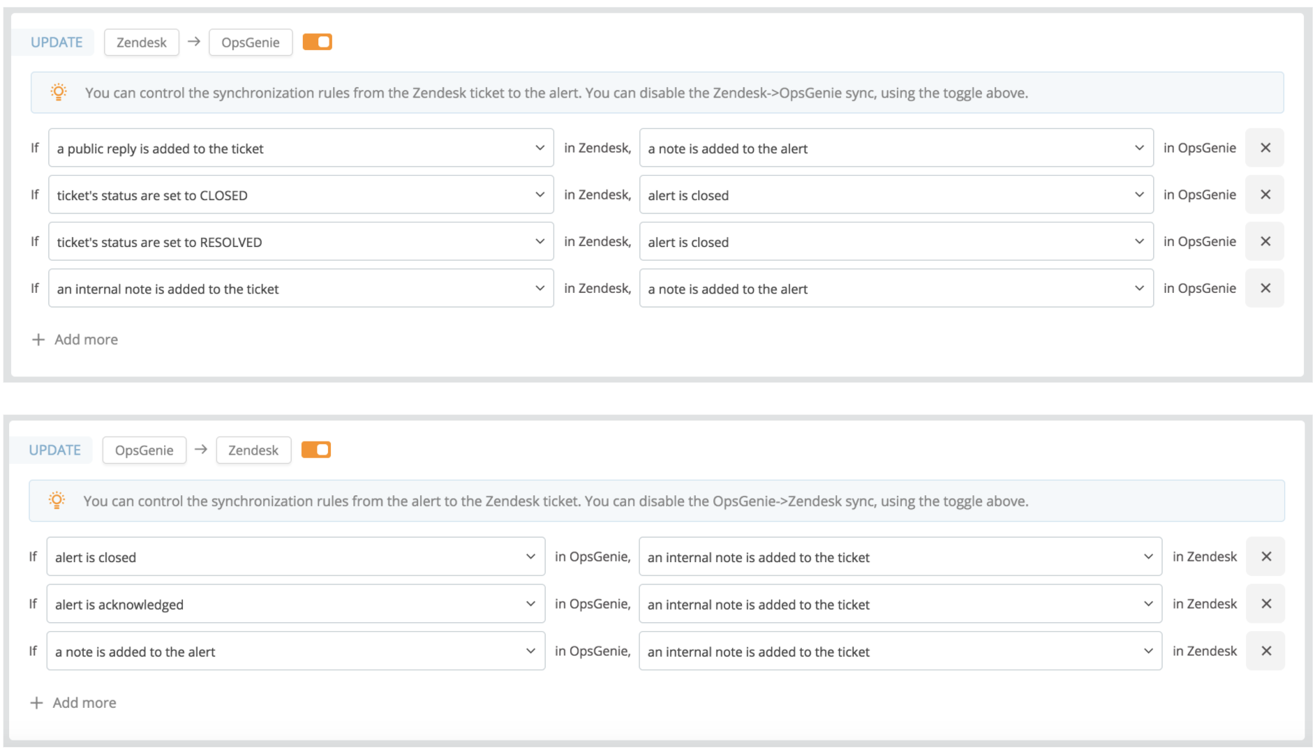 A screenshot showing a sample action mapping in Opsgenie's Zendesk integration.