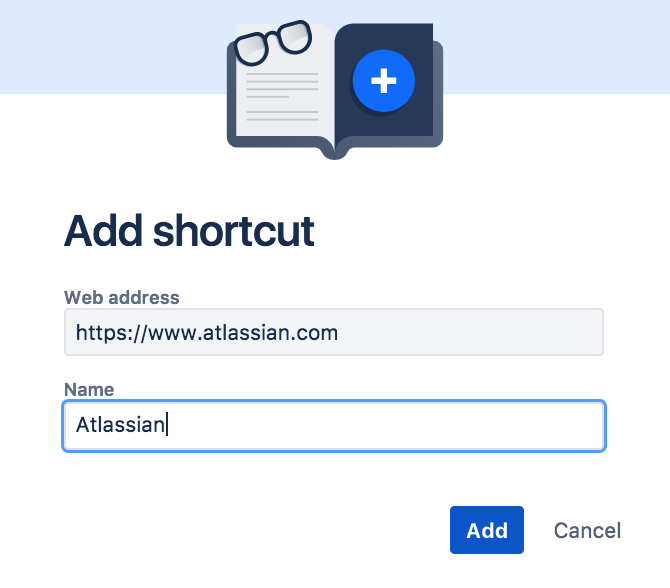 Dialog for adding a shortcut with URL address and name fields.