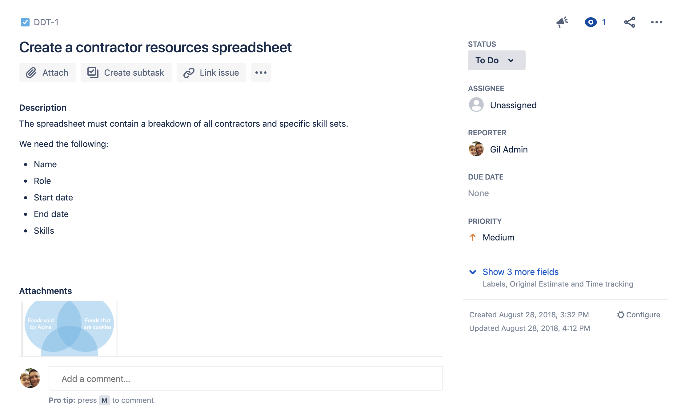 Jira task in the to do status to create a contractor resources spreadsheet.