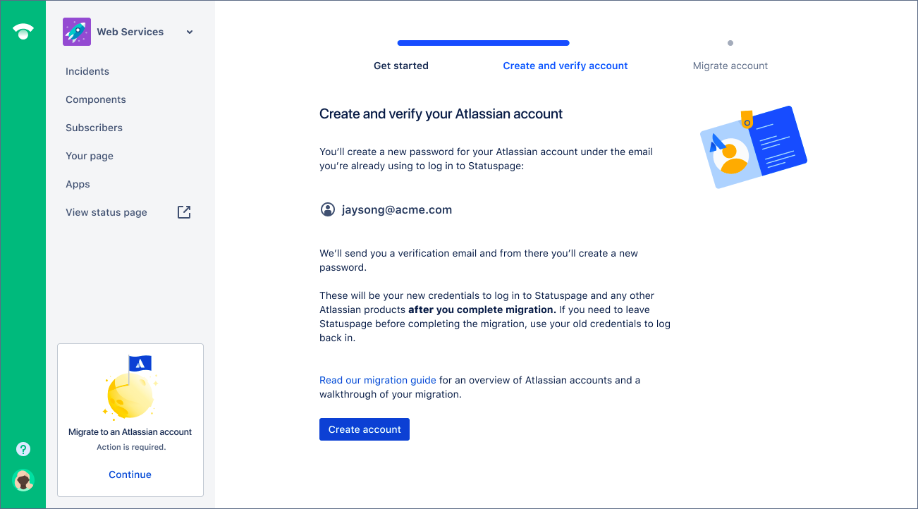 Step 2 in the migration wizard to create and verify an Atlassian account