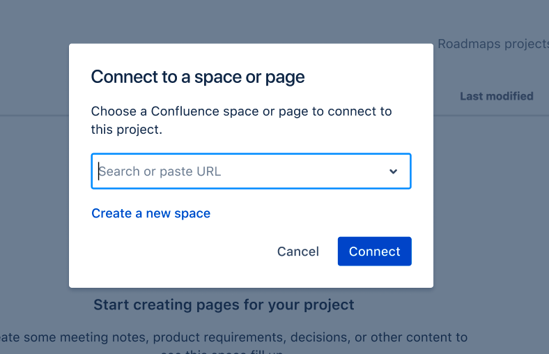 Image of the connect a space dialog box
