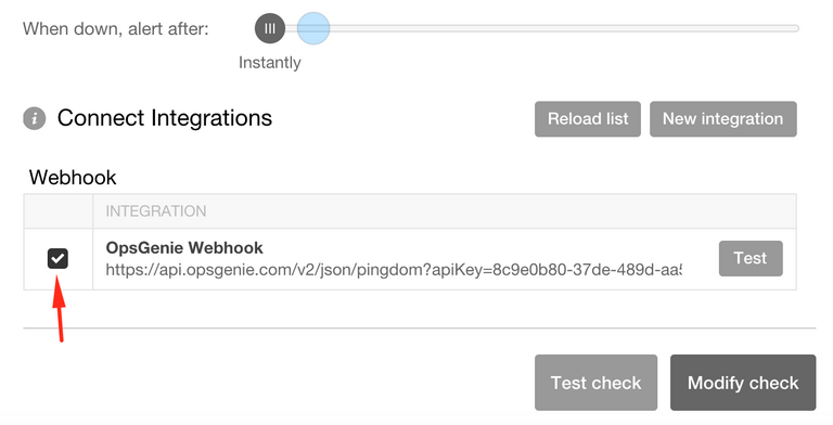 Pingdom webhook