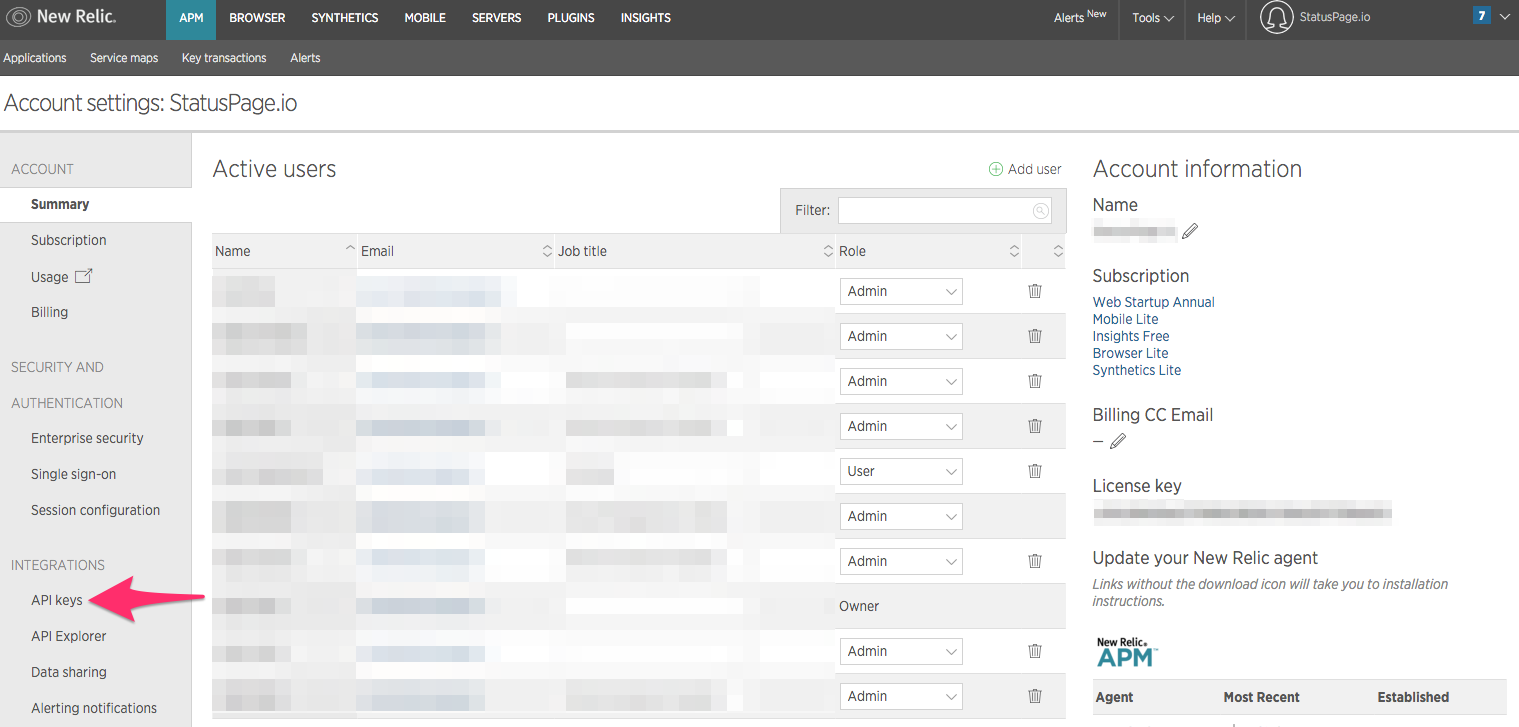Example of New Relic API Settings