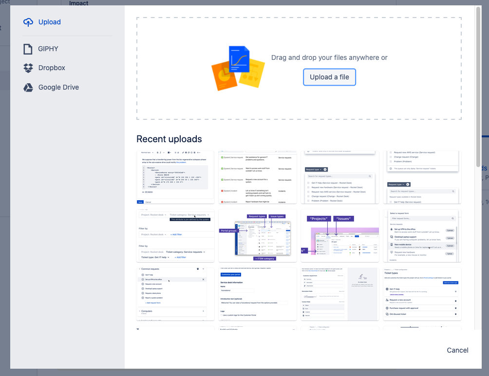 Attachments window in Jira Service Desk allows you to find or drag and drop images from your device