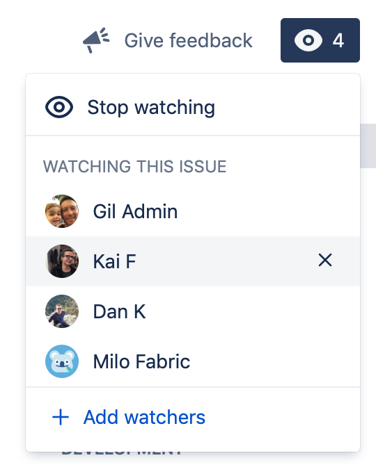 Watchers dropdown displaying who is watching an issue