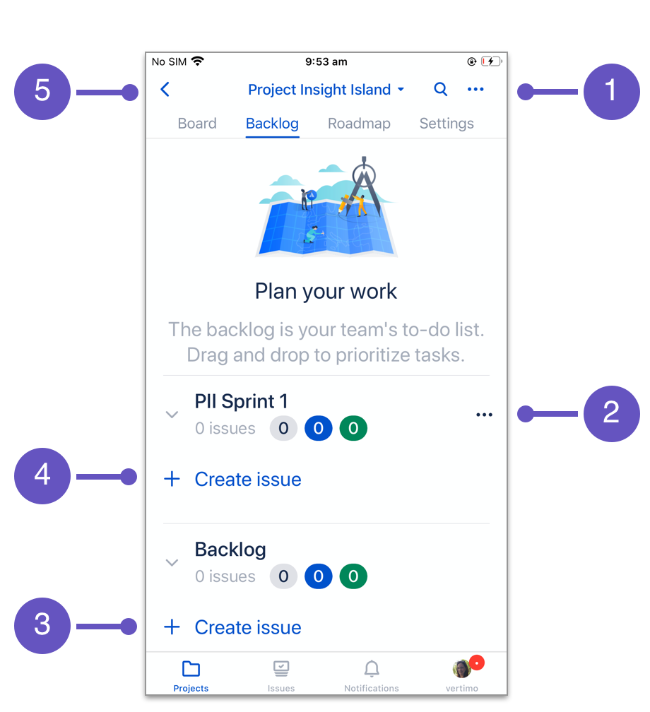 Jira Cloud for iOS backlog basics numbered 1 to 5