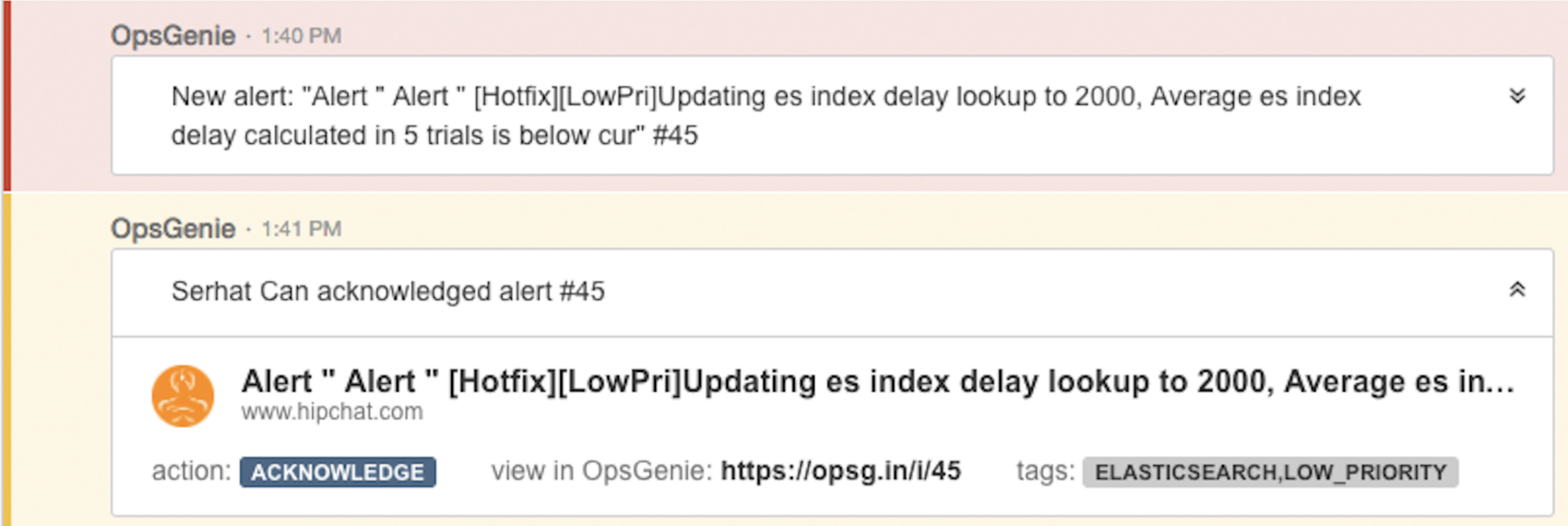A screenshot from HipChat integration with alert details expandedç