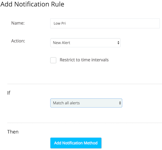 A screenshot showing a sample notification settings for a new alert type.