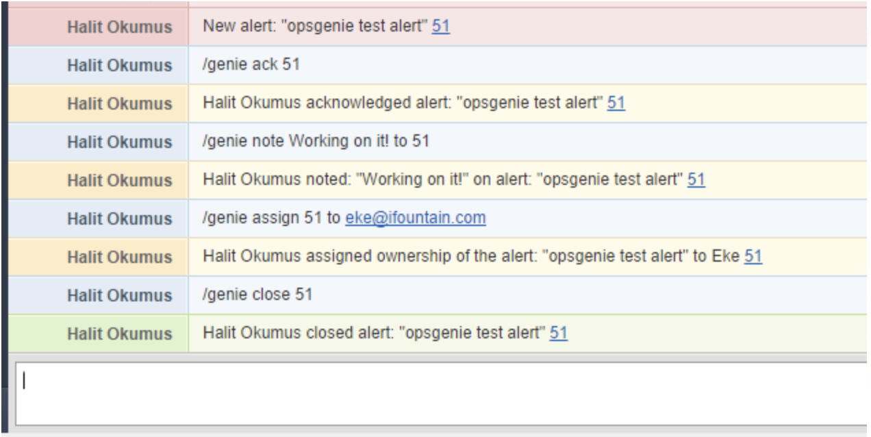 An image of sample HipChat commands in Opsgenie integration.