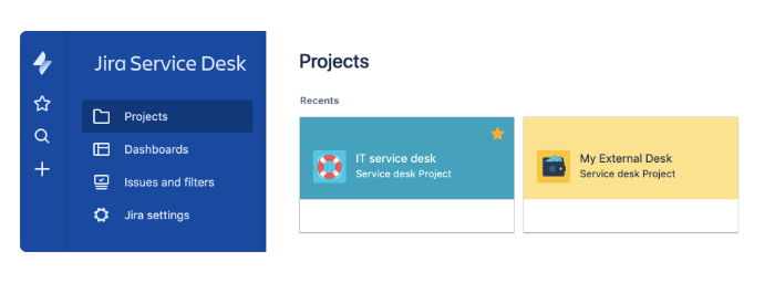 View of service desk projects on dashboard.