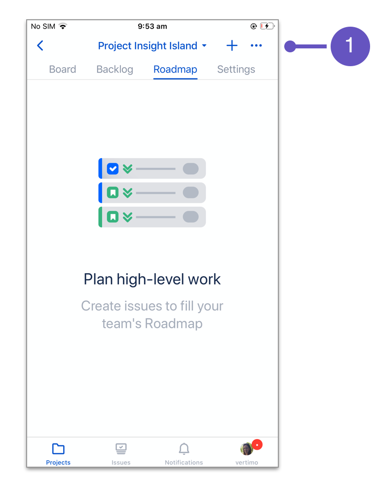 Jira Cloud for iOS roadmap basics with number 1
