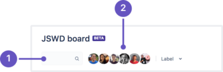 A cropped and annotated next-gen board, focused on the filter feature. Callouts are: 1 a search bar, 2 board member avatars