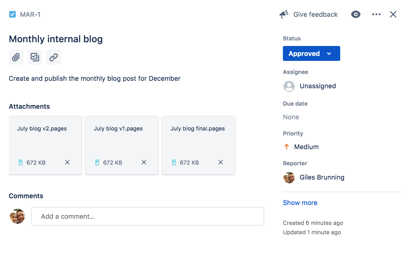 Jira task in the the approved status to create a monthly internal blog post. Attached are draft versions of the post.