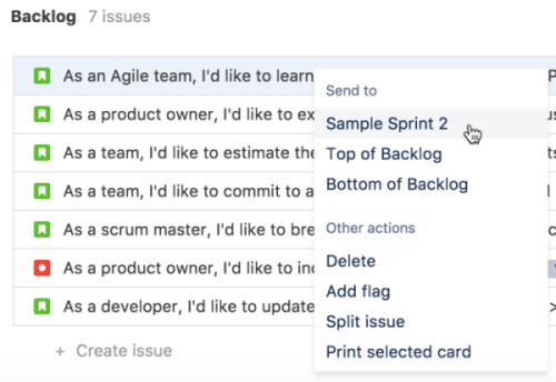 A cropped scrum backlog. An issue has been right clicked to show an action menu, with the cursor on: Send to Sample Sprint 2.