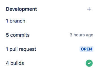 Screenshot of the development panel in Jira displaying the branch, commits, pull request and builds relevant to the issue..