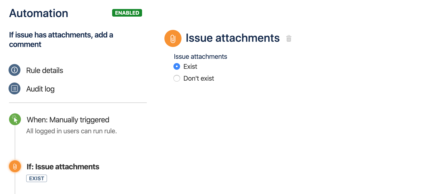 The fields available on the Issue attachments condition