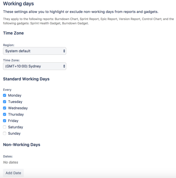 The working days tab in board settings, with options to define availability by region, time zone, and standard working days.