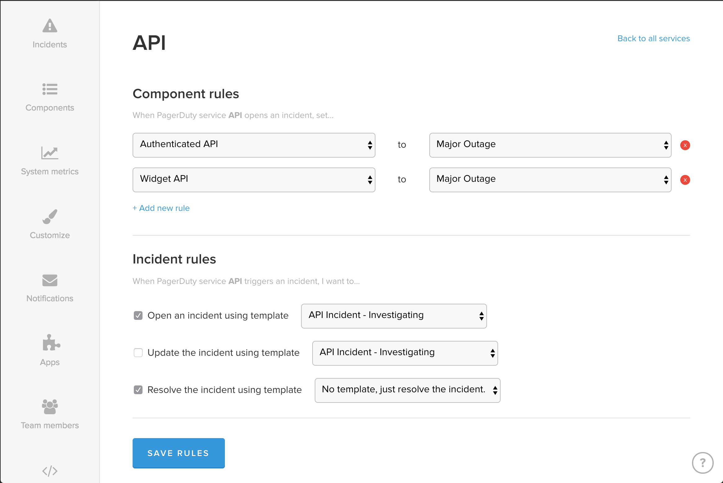 Example of API component and incident rules