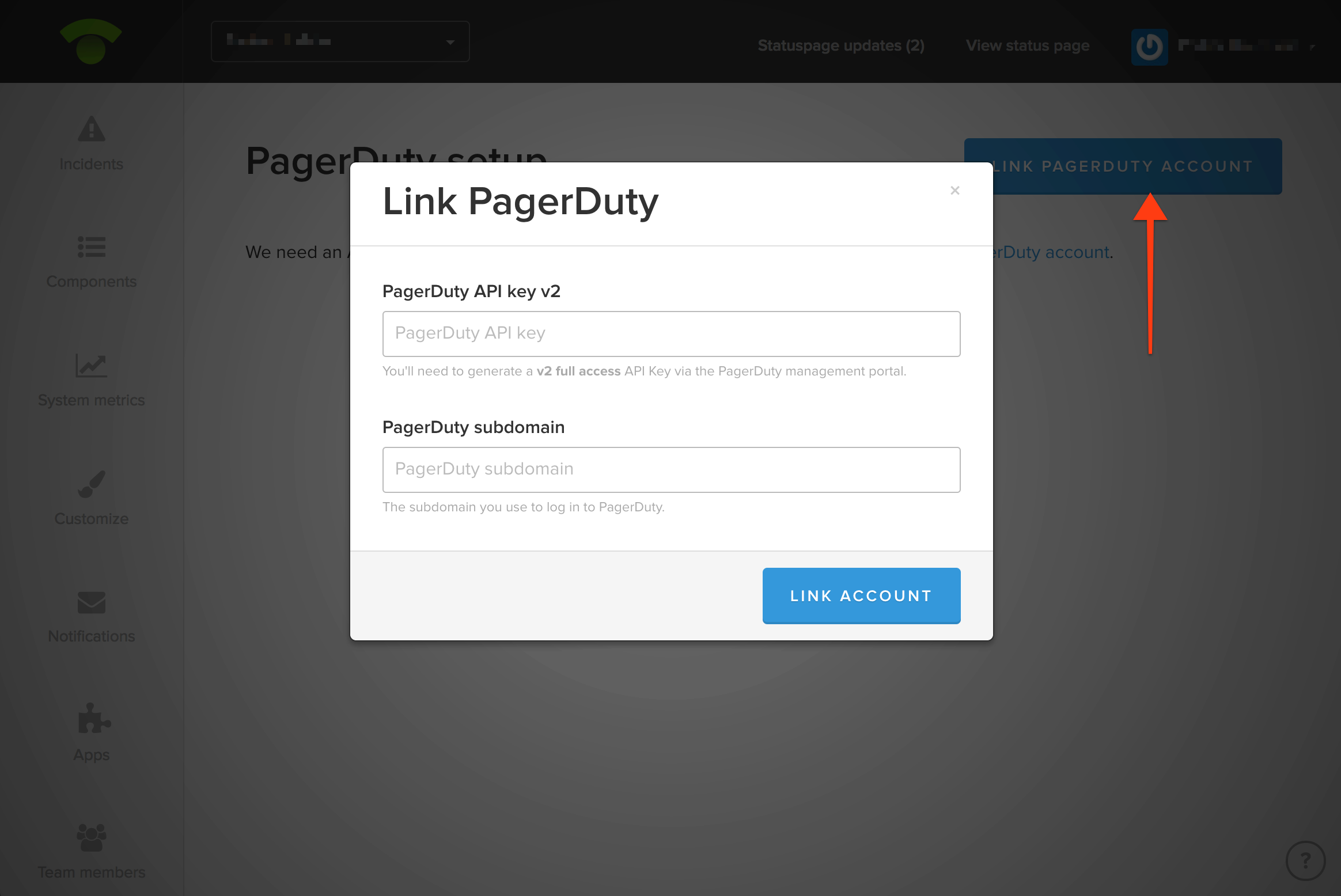 Example of how to link PagerDuty