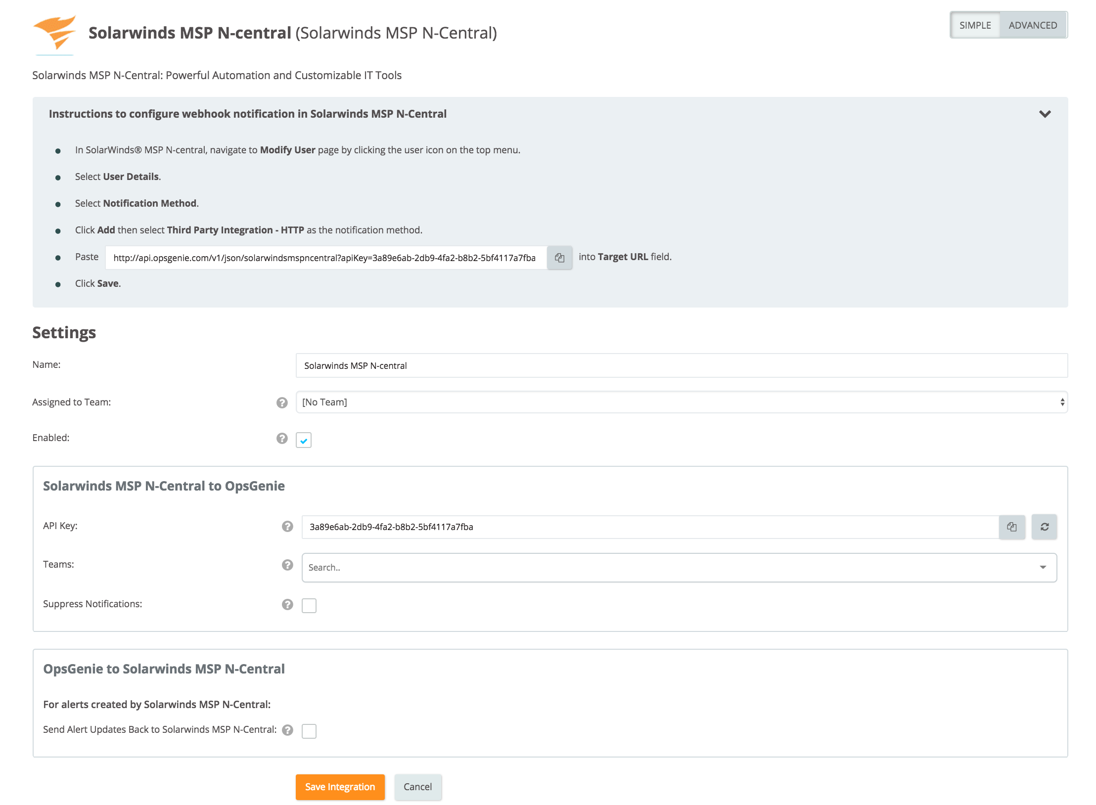 Solarwinds MSP N-Central integration settings