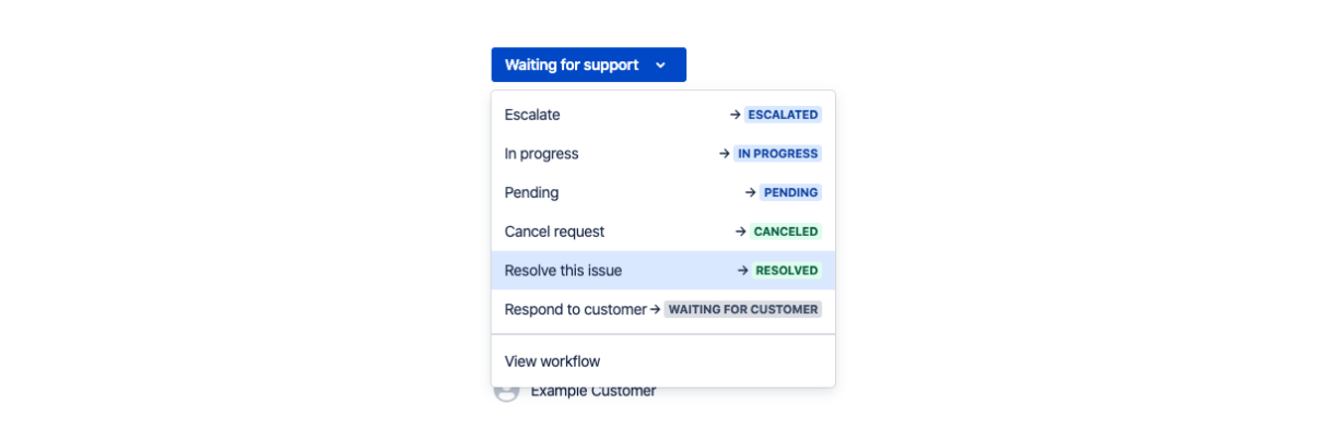 Mark service requests as complete by choosing 'resolved'