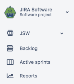 The sidebar navigation in a Jira Software Project. It has a board, backlog, active sprints, and reports.