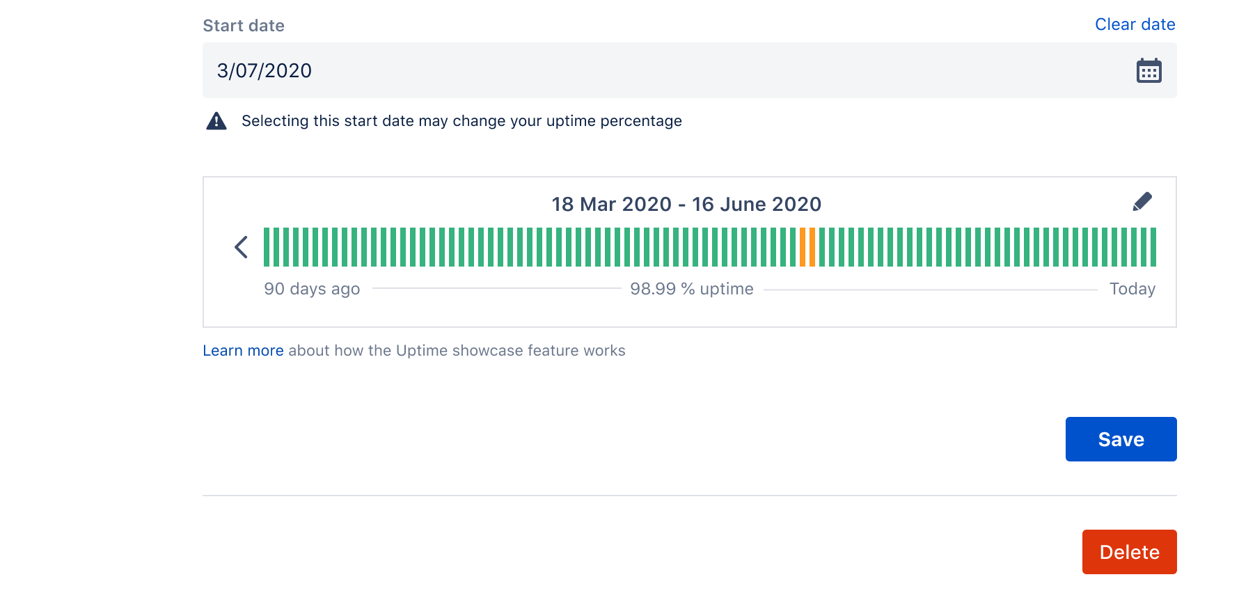 Shows the uptime showcase when setting a new start date