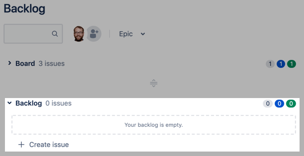 Use the backlog list in to create tasks for your team to take on in the future.