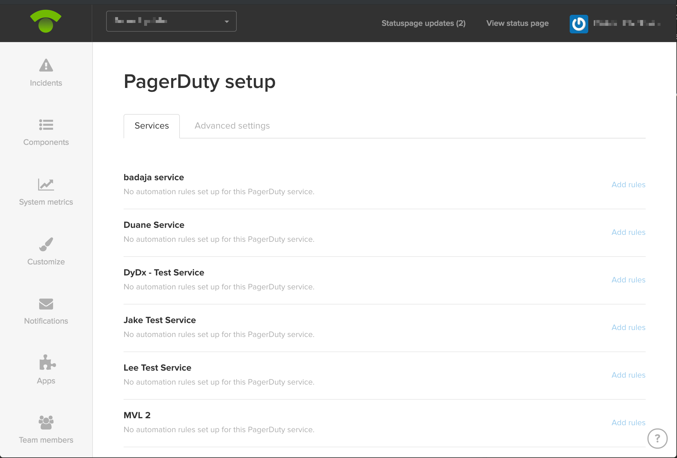 Example of PagerDuty setup screen
