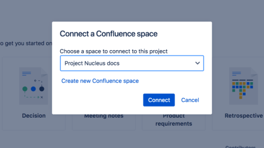 A cropped dialogue to connect a confluence space to a Jira next-gen project, using the dropdown menu or creating a new space.