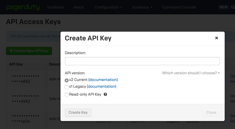 Create API Key example