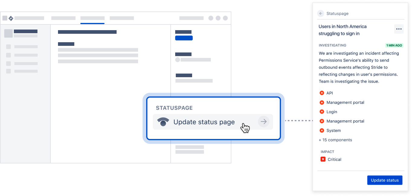The Jira Software integration with Statuspage which shows the Statuspage planel in the Jira issue view