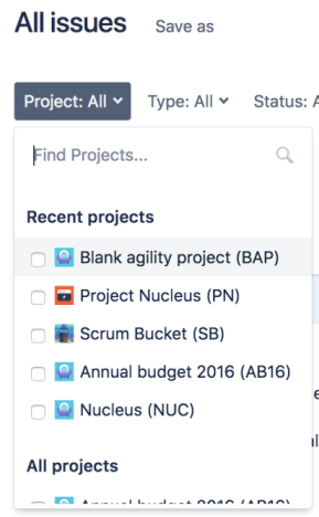 A cropped issue view, displaying a Project:All dropdown filter. There's a section for recent projects and all projects.
