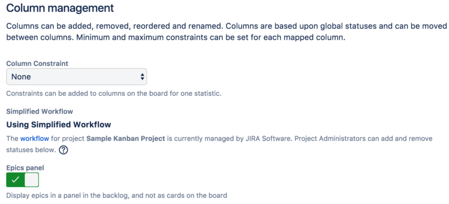 The column management section in the Jira board settings – the epic panel toggle is enable