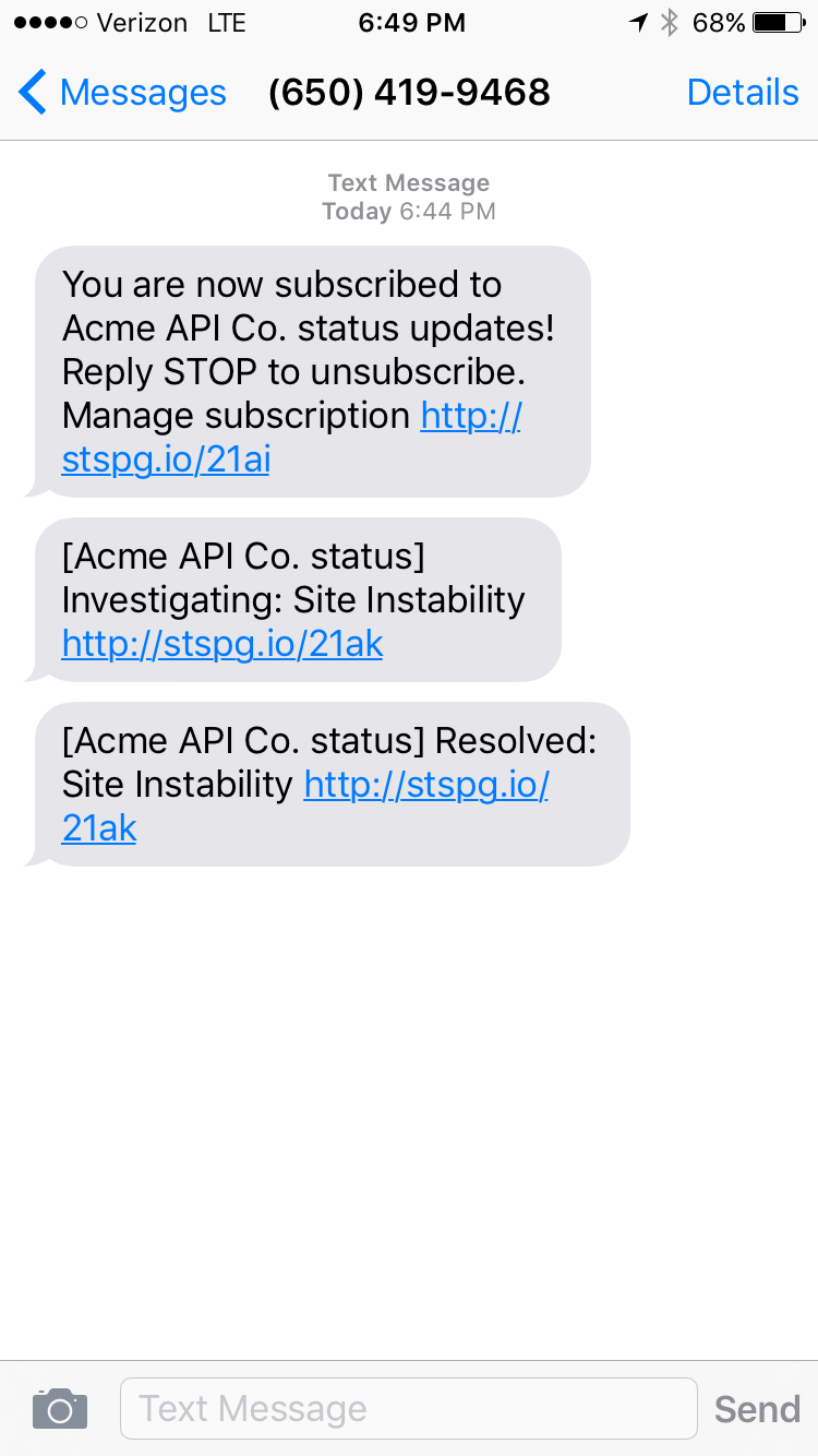 An example text notification that SMS subscribers receive for incident updates