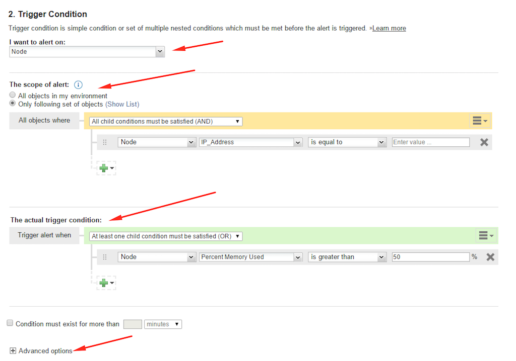 Solarwinds NPM trigger condition