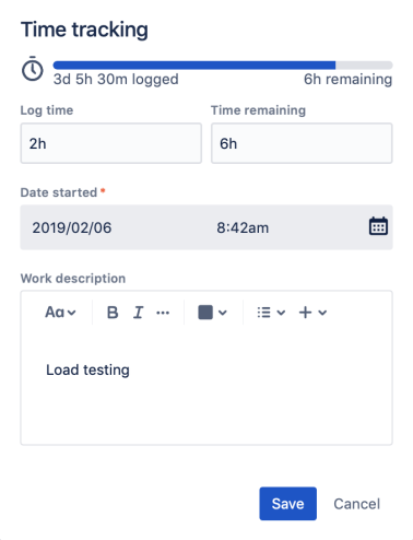 The time tracking section in an issue, with several fields to log and track time.