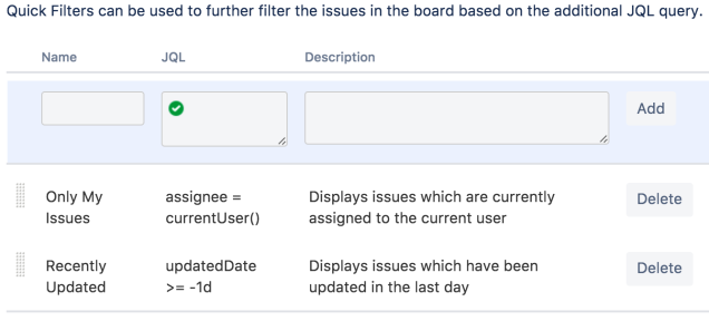 The Quick Filters tab on the Board settings screen, with a field section at the top to input and add new quick filters.
